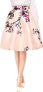 Falda Midi Plisada A-Línea Estampados Florales Cintura Alta para Mujer