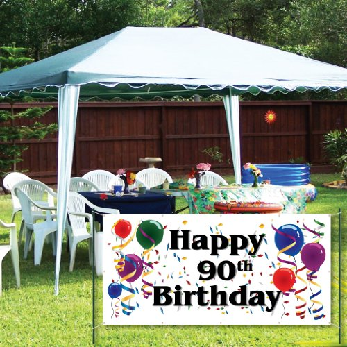 VictoryStore Yard Sign Outdoor Lawn Decorations: Happy 90th Birthday 2'X4' Vinyl Banner
