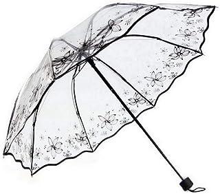Ukerdo Black Flower Printing Clear Umbrella Folding Portable Outdoor Sun Rain Umbrellas - Summer Flower