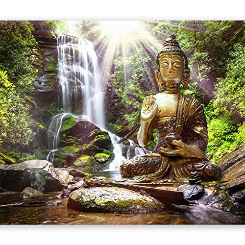 murando Fototapete 300x210 cm Vlies Tapeten Wandtapete XXL Moderne Wanddeko Design Wand Dekoration Wohnzimmer Schlafzimmer Büro Flur Natur Buddha Wald Wasserfall Asia h-C-0033-a-b
