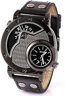 9591 Men's Unique Double-Sided Design Wristwatch Metal Case Black Belt