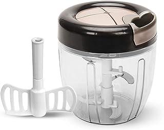 Vegetable Chopper(+Egg stir), 900 ML Hand Pull Food Chopper for Kitchen, Easy Cleaning Blender Mixer for Vegetables, Fruit...