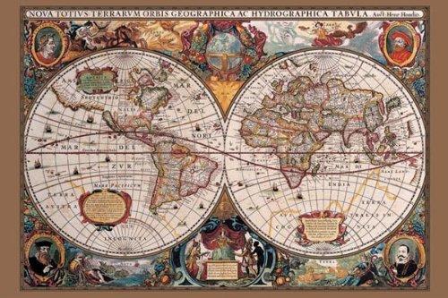 Pyramid America 17th Century Mapa Mundo Póster Impresión