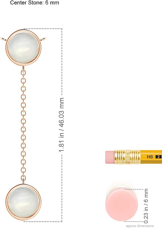 June Birthstone - Bezel-Set Round Moonstone Lariat Style Necklace (6mm Moonstone)