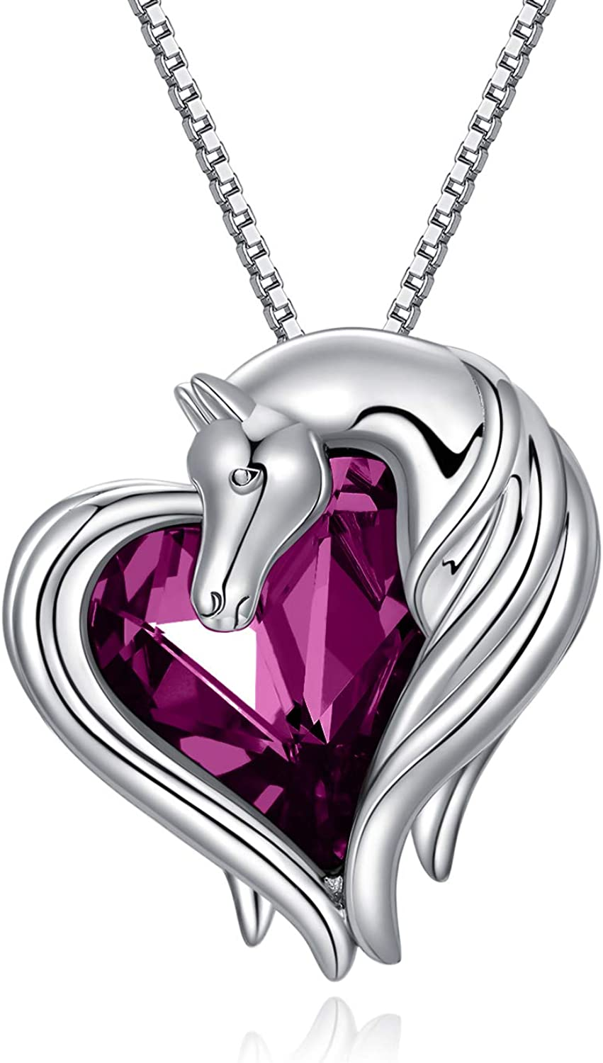AOBOCO Horse Necklace Sterling Max 80% OFF Silver Sales for sale Heart Nec in Pendant