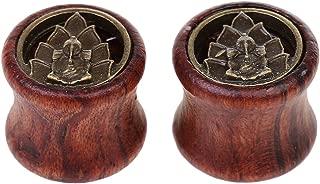 1 Pair Vintage Buddha Elephant Wood & Brass Screw Ear Gauges Flesh Tunnels Plugs Stretchers Expander