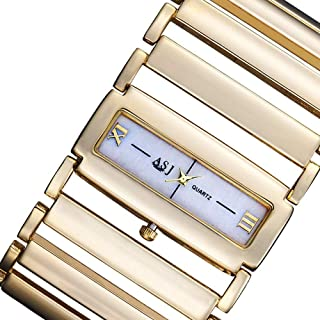 Golden Cool Girl Woman Lady Slim 9mm Square Quartz Watch 21 * 44mm Stainless Steel Strap Waterproof Fashion Personality Holiday Birthday Gift