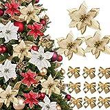 (48 Pcs)24 Piezas Flores Artificiales para Navidad con Purpurina Flores Pascua Flores de Poinsettia Navideña 24 Lazos de Navidad Ornamentos Dorado Decoracíon Adornos Arbol Navidad Guirnaldas Año Nuevo