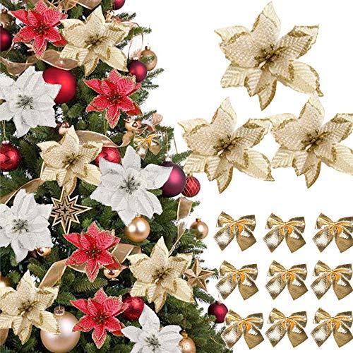 (48 Pcs)24 pcs Fiori Artificiali Natale Fiori Finti per Alberi di Natale con Glitter Fiori di Stelle Natale Poinsettia Glitterate Oro 24 Fiocchi Archi di Decoracioni Natale Ornamenti Addobbi Natalizie
