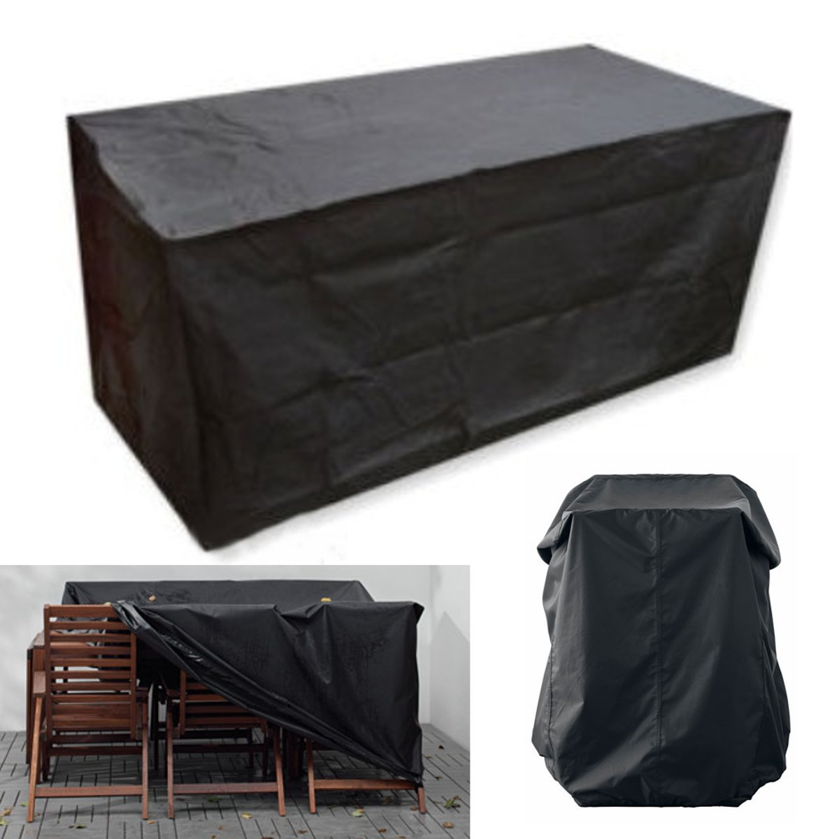 Housse de protection dDanke - Pour meubles de jardin - Noire - Rectangulaire - 170 x 97 x 71 cm - En polyester - Imperméable - Anti-poussière: Amazon.es: Hogar