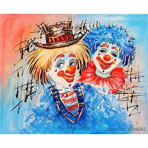 JFZJFZ Fai-da-Te schilderij voor volwassenen en kinderen, set met olieverfschilderij op voorgedrukt canvas met multipla-verpakking - twee rompers