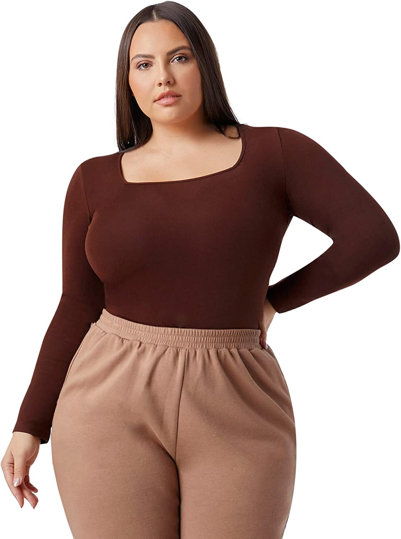 Floerns Women's Plus Size Basic Long Sleeves Square Neck Tee Shirt