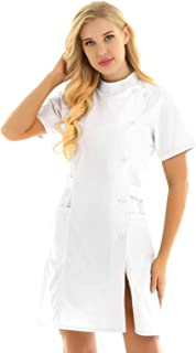 Women's Solid Color Short Sleeve Slanting Button Hospital Nurse Scrub Lab Coat Uniform Dress