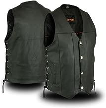 Mens Biker Riding Premium Butter Soft Buffalo Nickle Snap Button Leather Vest