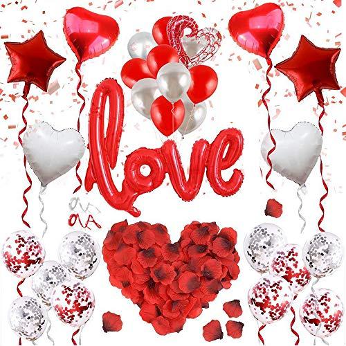 IWILCS set di palloncini decorativi per San Valentino, colore oro rosa, con coriandoli, palloncini per matrimonio, 100 pezzi, petali di rosa per un'atmosfera romantica e decorazione