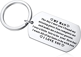 To My Man Keychain Him,Wedding Anniversary Valentine's Day Birthday Boyfriend Fiance Husband-My Man,I Want All of My Lasts to Be With You Key Chain