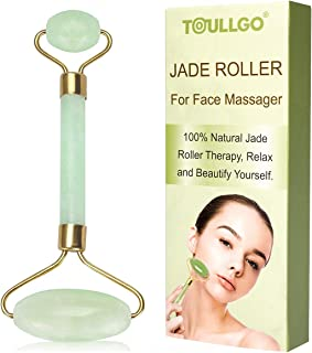 Jade Roller for Face, Jade Facial Roller, Gua Sha Scraping Massager, Anti-aging 100% Natural Facial Jade Stone Set - Face Eye Neck Beauty Roller For Slimming & Firming