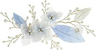 Vintage Blue Flower Crystal Pearl Side Combs Bridal Headpiece Wedding Hair Accessories (blue hair clip)