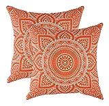 TreeWool - Pack de 2 - Mandala Acento Decorativo Fundas de cojín, 100% algodón (60 x 60 cm / 24 x 24 Pulgadas, Naranja)