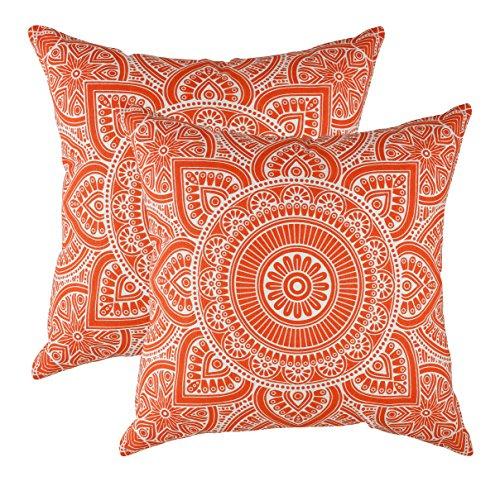 TreeWool - Pack de 2 - Mandala Acento Decorativo Fundas de cojín, 100% algodón (50 x 50 cm / 20 x 20 Pulgadas, Naranja)