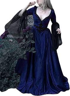 Howely Women's Deep V-Neck Big Hem Renaissance Retro Style Maxi Dress