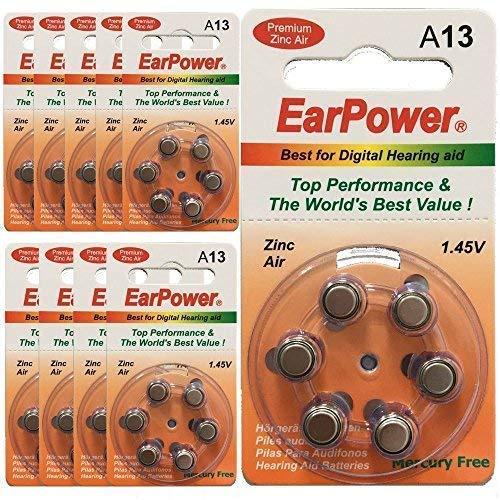 Hörgerätebatterien in der Größe 13 EarPower | Gelbe Orange | 60 Batterien für Hörgeräte Hörhilfen Hörverstärker