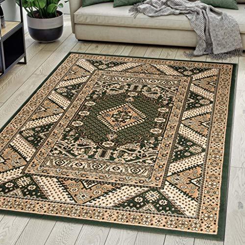 Carpeto Rugs Teppich Orientalisch Grün Klassisch Muster Kurzflor Öko-Tex Wohnzimmer 80 x 150 cm