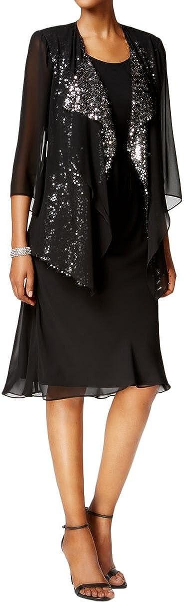 SLNY Womens Sequined Chiffon Cocktail Dress Black 10