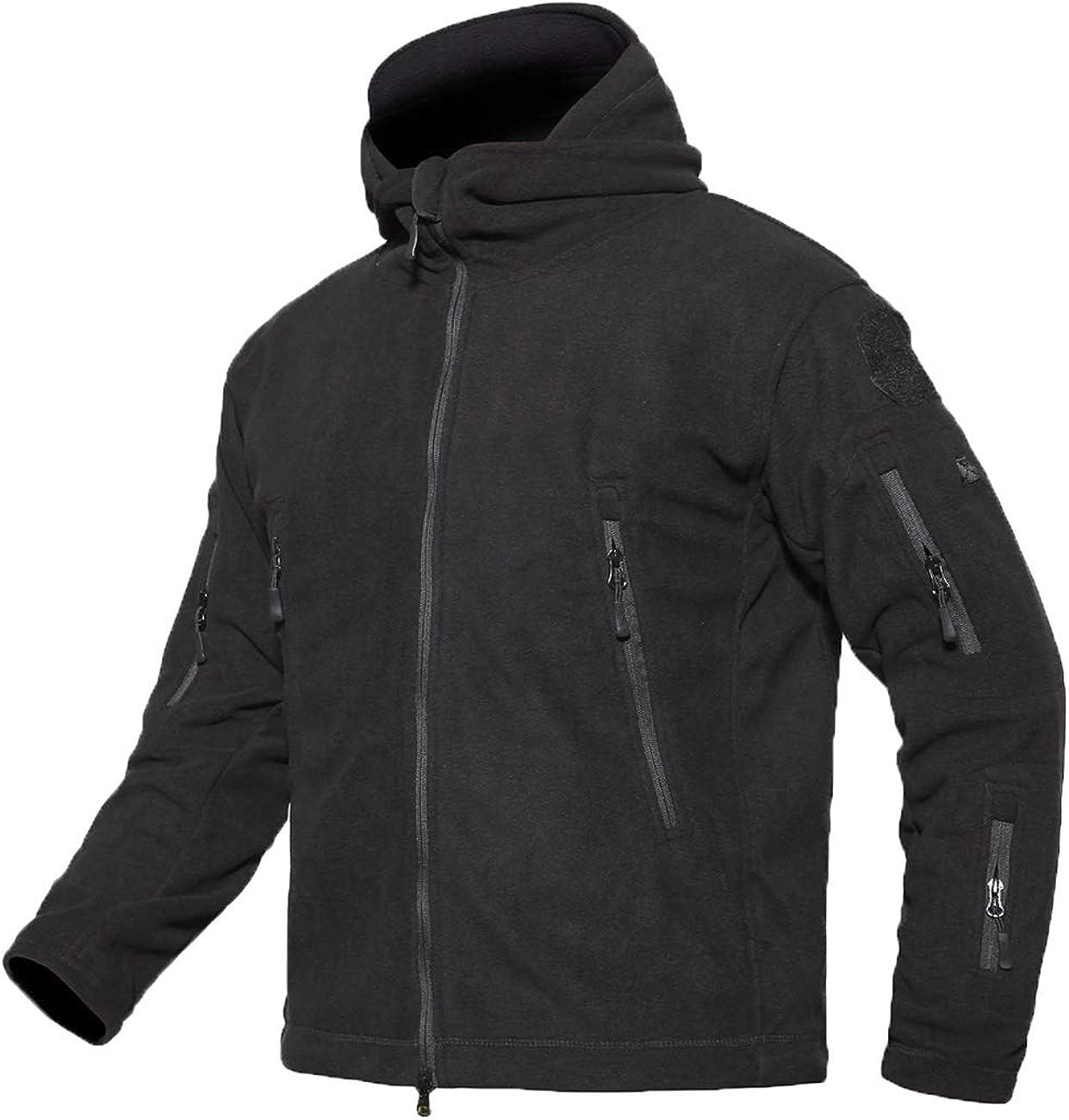 YFNT Men's Warm Military Tactical Fleece Hooded Jacket (X-Large, Black)