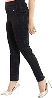 NGC Women's Regular Fit Checks Stretchable High Waist Ankle Length Stylish Jeggings Trouser Pants (Black, Free Size)