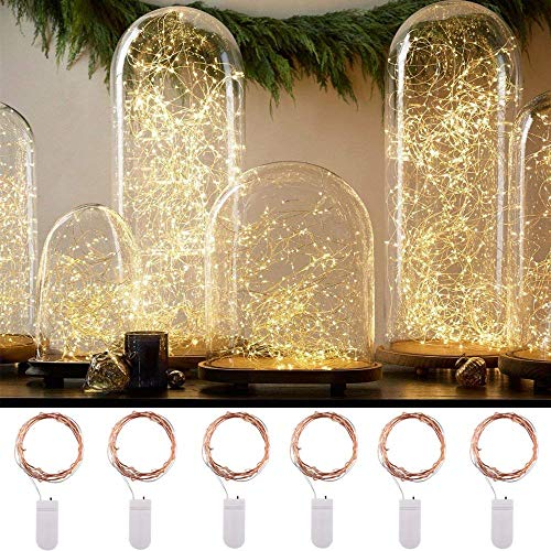 Himaly 2m X 6pcs Guirnalda Luces Decorativas Exterior para Navidad LED Impermeable Luces Navidad LED Exterior para Decoración 20 Leds Luz Decorativa para Festival Navidad