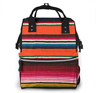 Beauiful Mexican Serape Diaper Bag Backpack Maternity Baby Nappy Changing Bags Shoulder Bag Organizer Multi-Function Travel Backpack