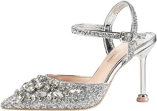 zapatos Tacón,zapatos Puntiagudos Boca Baja Club Nocturno Delgado Lentejuela Sandalias,Estilete Tacón Diamante de Imitación Puntera Cerrada Resistente Al Desgaste plata B   35