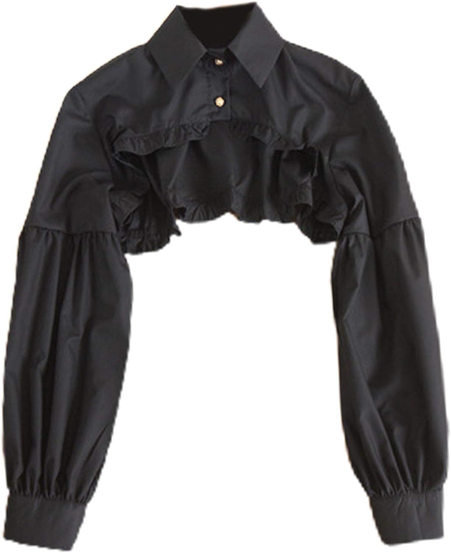 YOUSIKE Detachable Blouse, Women Puff Long Sleeve Half Top Blouse Ruffled Edge Golden Button Detachable False Fake Collar Winter Sweater Decorative Clothing Accessories