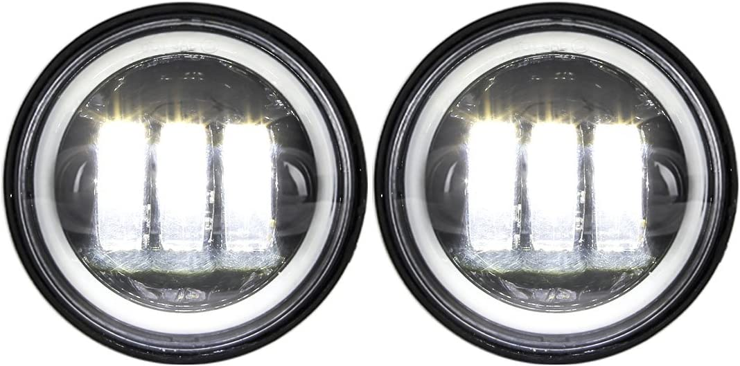 Athiry 1 Pair Black 4-1//2 4.5 Inch Round Led Fog Lights With White DRL Halo Ring For Road King Night Train Motorcycles Auxiliary Driving Passing Lights