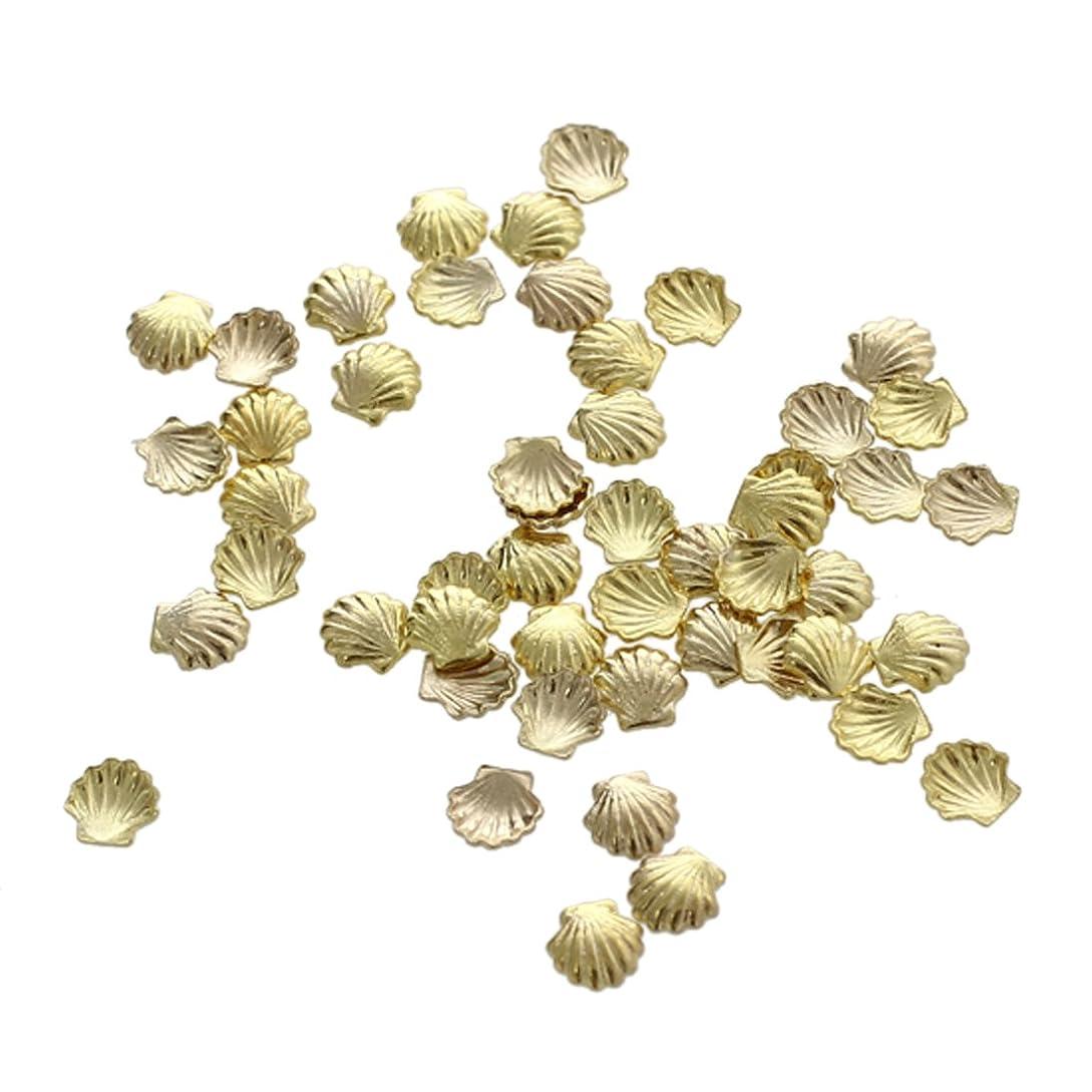 刃アジア困惑Cikuso 50個 ミニ 合金 シェル ビーズ ネイルアート デコレーション クラフト用 ゴールデン3ミリメートル