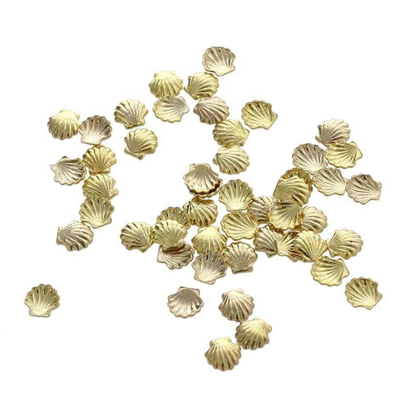ふさわしい感度政策Cikuso 50個 ミニ 合金 シェル ビーズ ネイルアート デコレーション クラフト用 ゴールデン3ミリメートル