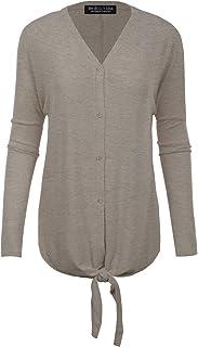 BH B.I.L.Y USA Women's V-Neck Button Down Long Sleeve Soft Classic Knit Cardigan - Grey - Small