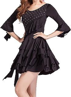 Whitewed Ruffle Rhinestone Latin American Dancing Outfit Dresses Costumes Sleeve