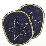 2 Knieflicken Buegelflicken Bio Jeans blau mit goldenem Stern Flicken 10 x 8cm Aufbuegler 2 Hosenflicken Patches zum aufbügeln, feste schlichte Bügelbilder Applikationen für Kinder und Erwachsene