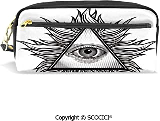 Students PU Pencil Case Pouch Purse Wallet Bag Triangle Shape with Wavy Figures and All Seeing Eye Tattoo Style Spiritual Masonic Decorative Waterproof Large Capacity Hand Mini Cosmetic Makeup Bag