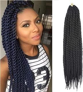 22Inch 12strands/pack 6Packs Havana Mambo Crochet Braids Senegalese Twist Crochet Twist Braiding Hair Extensions(1B)