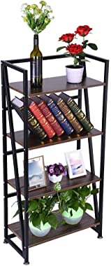 C-Easy Modern Book Shelves with 4 Storage Shelf, 4-Tiers Industrial Wooden Bookshelf Rack Storage Organizer Freestanding Book Display Rack, Metal Frame, Brown, 23.6 x 11.8 x 49.4 Inches