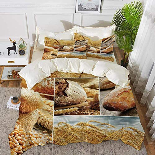 Harvest,Various Stages of Bread Making From Wheat to Final Product Collage Pattern Deco,Hypoallergenic Microfibre Duvet Cover Set 200 x 200cm with 2 Pillowcase 50 X 80cm