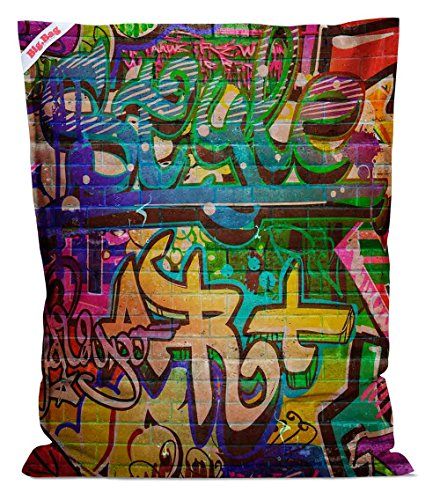 lifestyle4living Sitzsack Big Bag Graffiti, Rückseite in blau, 380 l Volumen, Maße: B/H/T ca. 130/170/20 cm