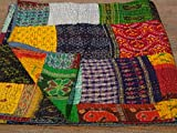 Tribal Asian Textiles Colcha vintage de seda india vieja Patola Sari Kantha, colcha de retazos bohemia Kantha, hecha a mano