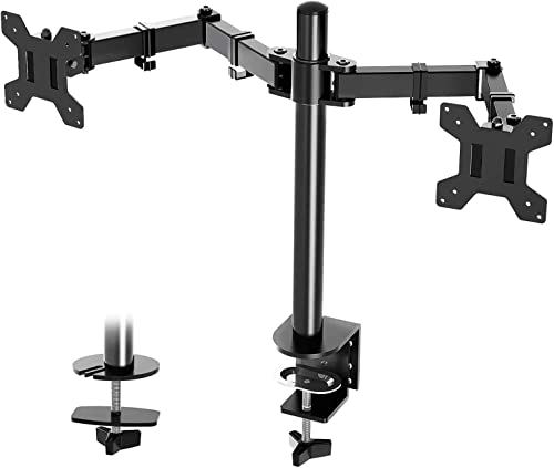 Suptek Dual LED LCD Monitor Desk Mount Heavy Duty Fully Adjustable Stand for 2 / Two Screens up to 27 inch MD6442