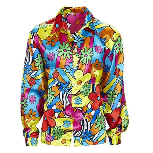 Amakando Blumenhemd Herren Buntes Hippiehemd L 52 Hippie Kostüm Männer Flower Power Hemd 60er 70er Jahre Kleidung Schlagermove Outfit