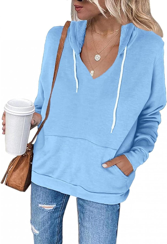 Gibobby Hoodies for Women Pullover Drawstring Lightweight Sweatshirts Long Sleeve Color Block V Neck Hooded Jacket Coats