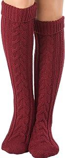 comprar comparacion Mujer Calcetines hasta las rodillas, Tukistore Color Puro Calcetines largos de punto elásticos Calcetines altos de la rodi...